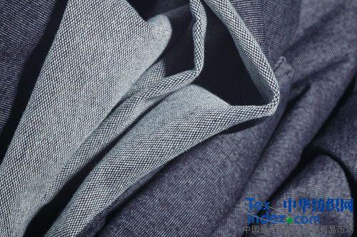 针织牛仔 大毛圈 靛蓝色