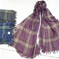 涤粘色织围巾